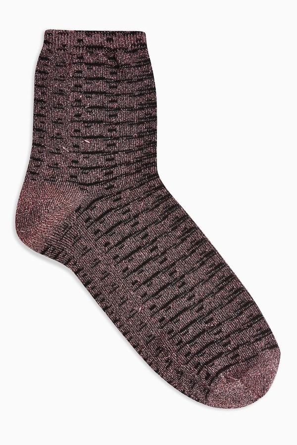 Topshop Womens Pink Grid Glitter Socks - Pink