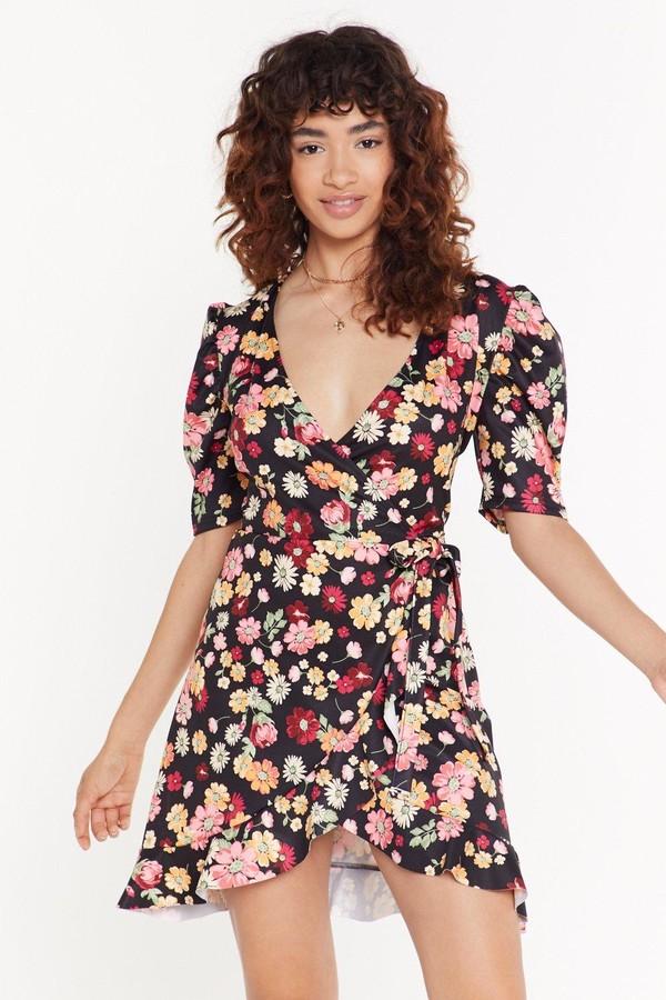 Womens Anyone Bud You Floral Mini Dress - Black - 8