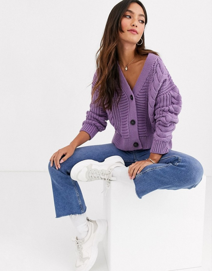 New Look cable knit cardigan in lilac-Purple