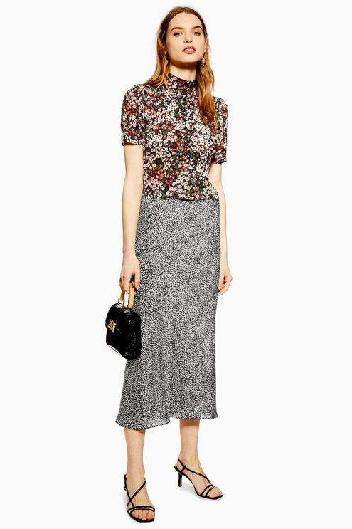 Topshop Womens Spot Animal Bias Midi Skirt - Monochrome
