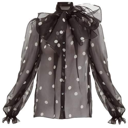 Dolce & Gabbana - Polka Dot Print Pussy Bow Organza Blouse - Womens - Black White