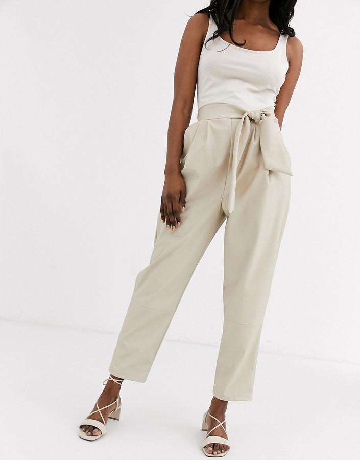 Asos Design ASOS DESIGN leather look trouser with twist waist detail-Cream