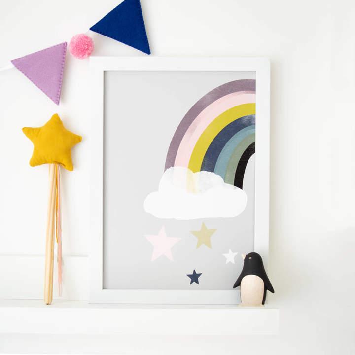 Rory & The Bean Rainbow Starfall Children's Nursery Print