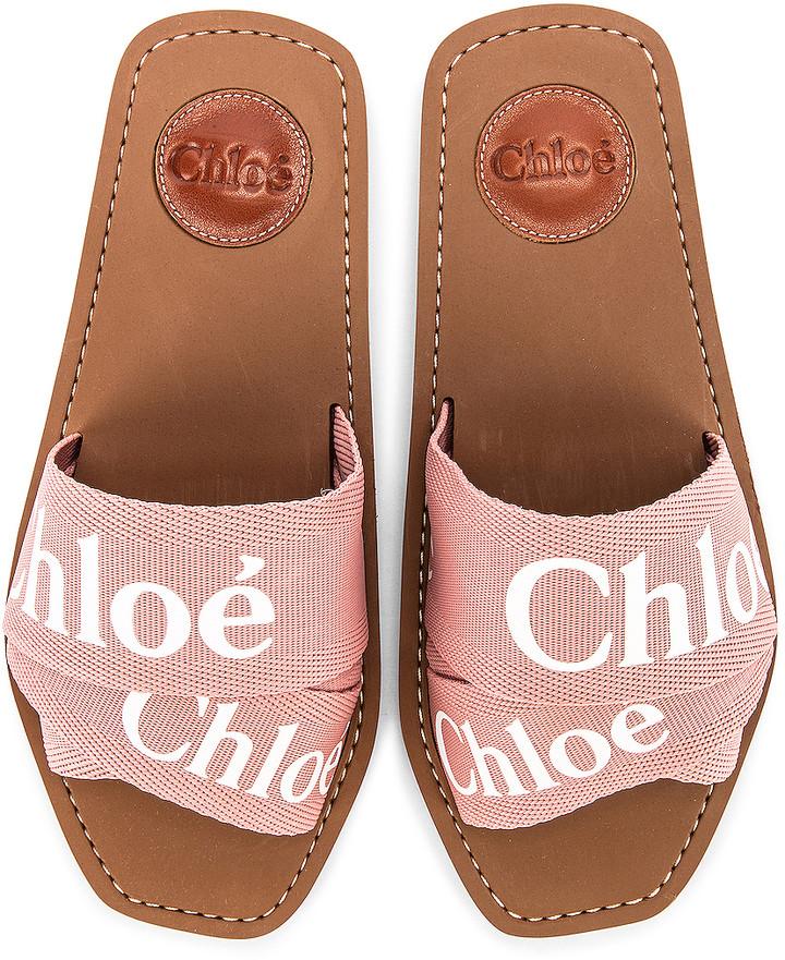 Chloe Logo Slides in Delicate Pink | FWRD