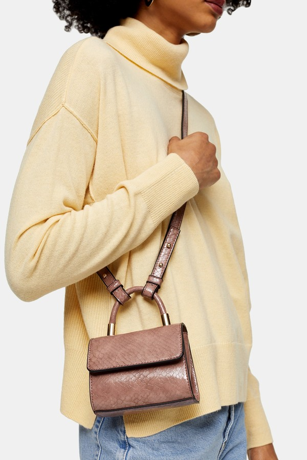 Topshop Womens Cindy Crocodile Mini Cross Body Bag - Nude