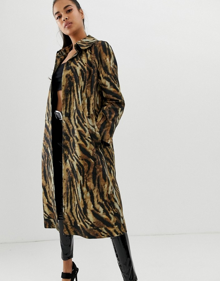 ASOS DESIGN tiger printed trench