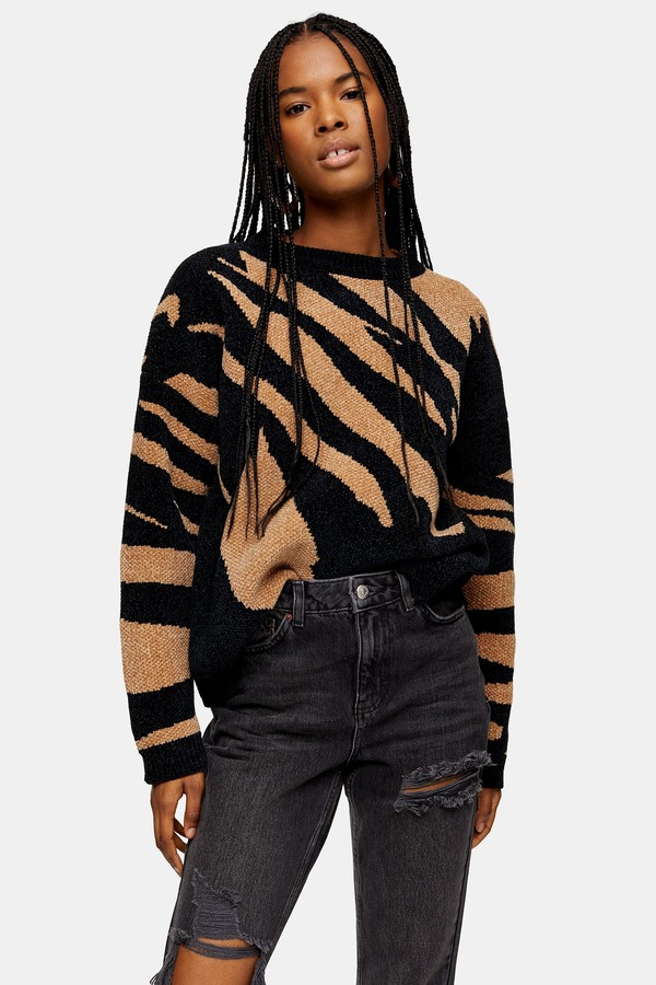 Womens Black Knitted Abstract Chenille Jumper - Black