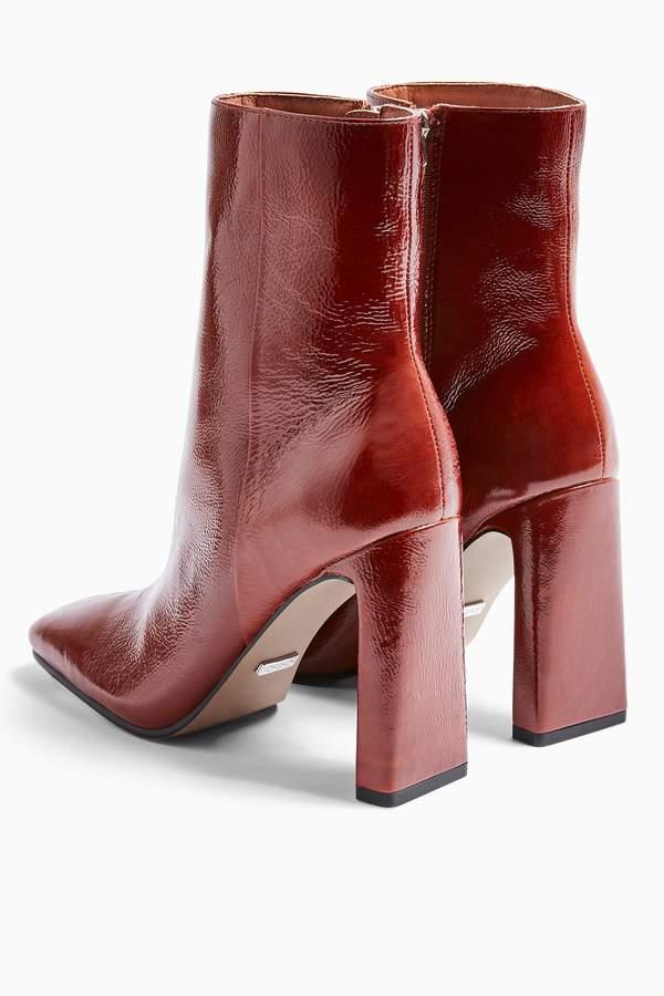 Topshop Womens Halia Leather Tan Square Toe Boots - Tan