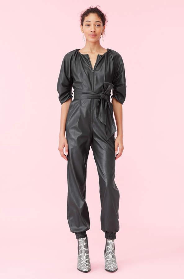 vegan leather jumpsuit