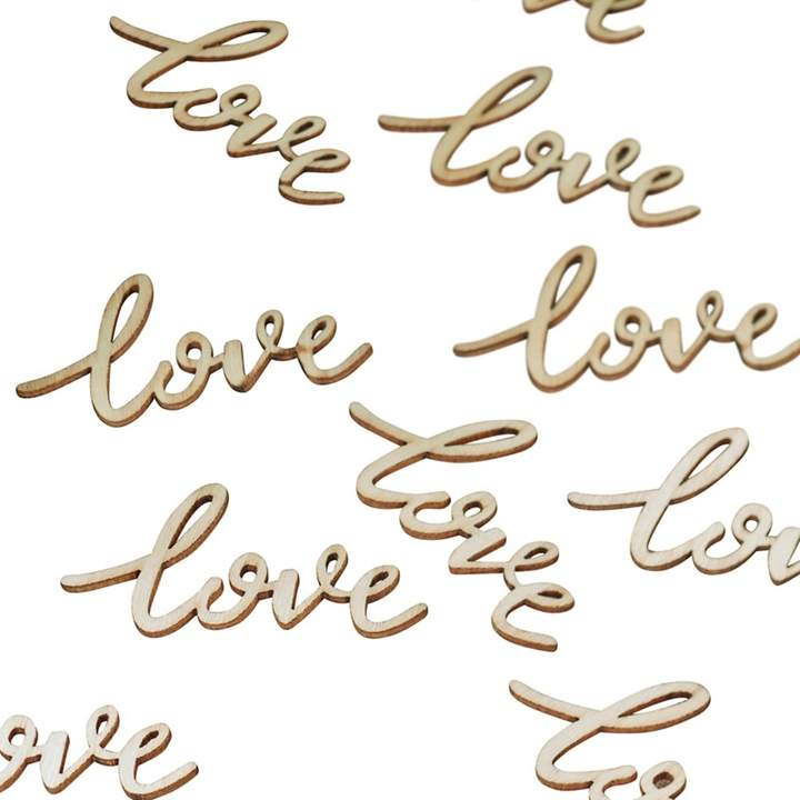 Ginger Ray - Pack Of 25 Wooden 'Love' Confetti