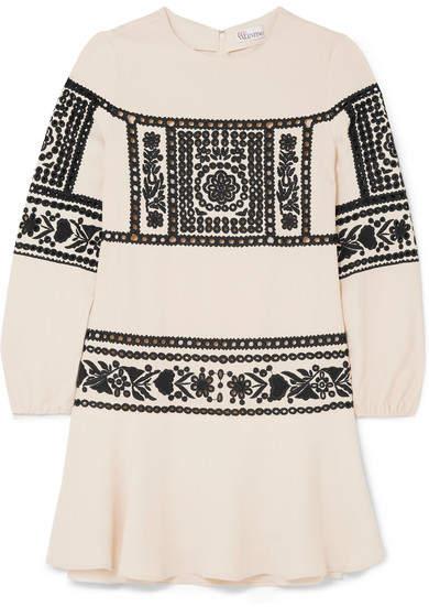 REDValentino - Embroidered Crepe Mini Dress - Cream