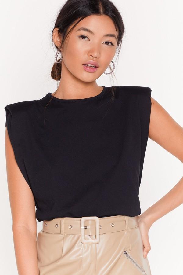 Womens Chip On Your Shoulder Jersey vest Top - black - 4