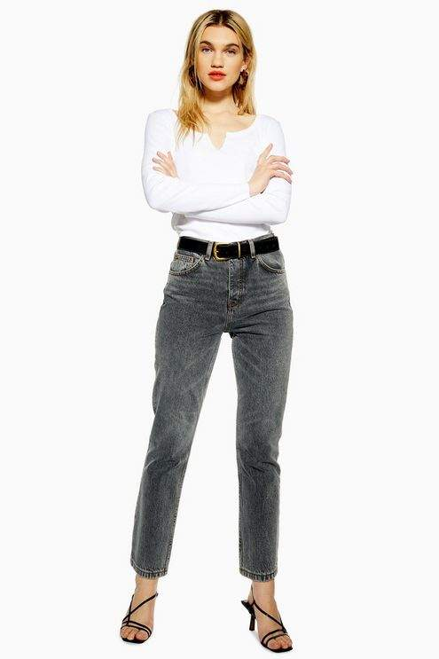 Topshop Womens Grey Editor Jeans - Grey