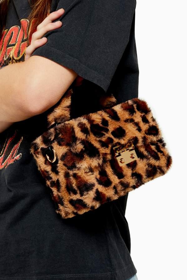 Topshop Womens Fizz Leopard Faux Fur Box Grab Bag - True Leopard