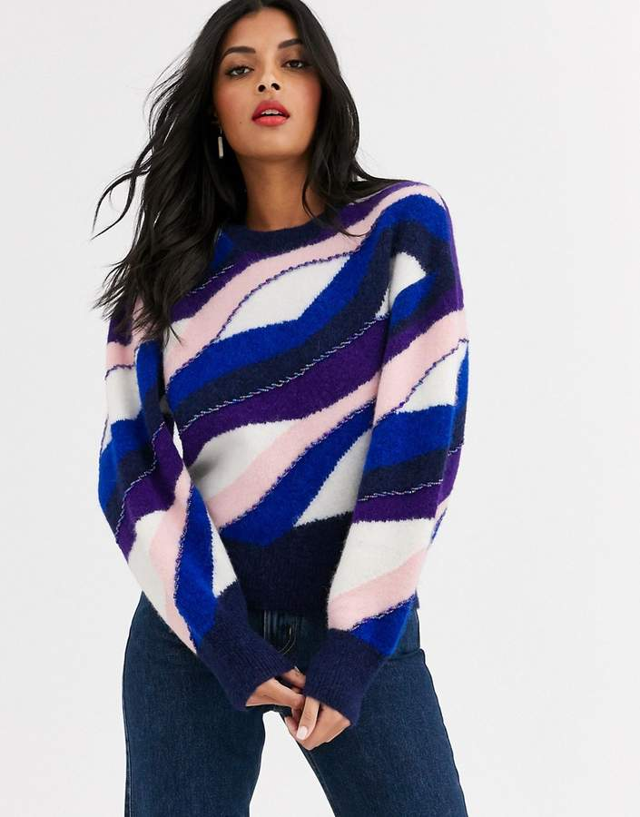 & Other Stories colour block stripe jumper in multi