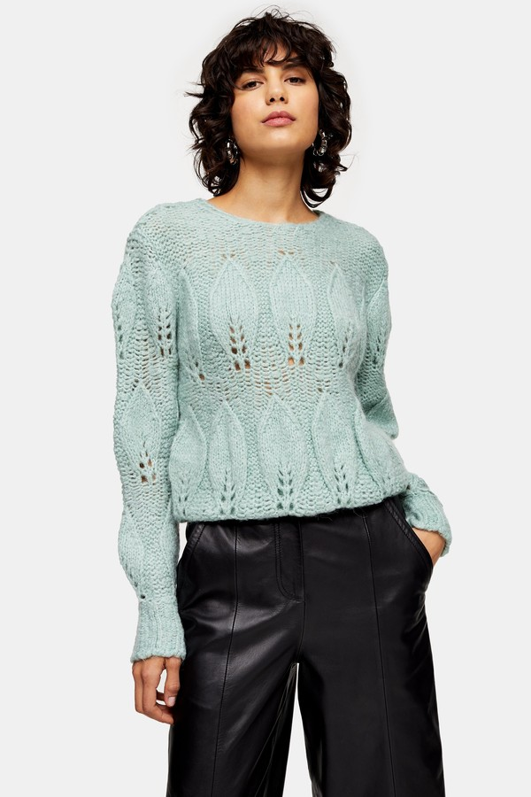 Womens Mint Knitted Petal Gauzy Jumper - Mint