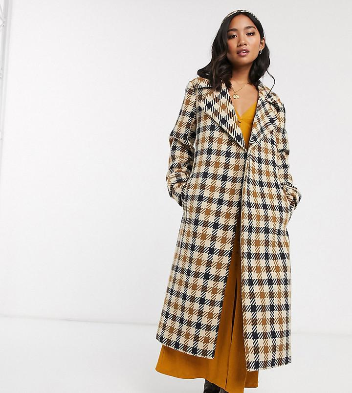 ASOS DESIGN Petite check belted coat
