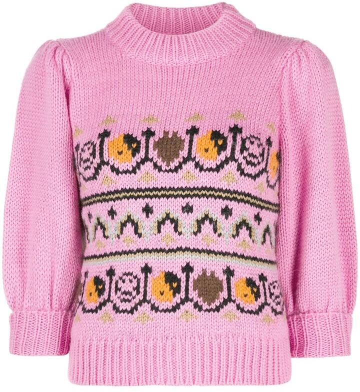 Ganni intarsia knit jumper