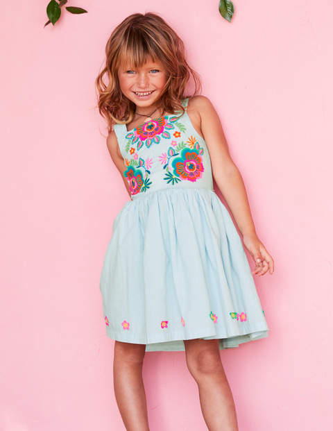 Fun Applique Woven Dress - Ocean Spray Blue