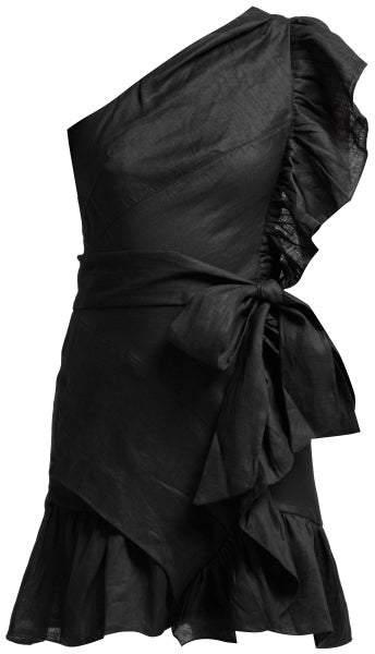 Isabel Marant étoile Isabel Marant Etoile - Teller One Shoulder Frill Mini Dress - Womens - Black