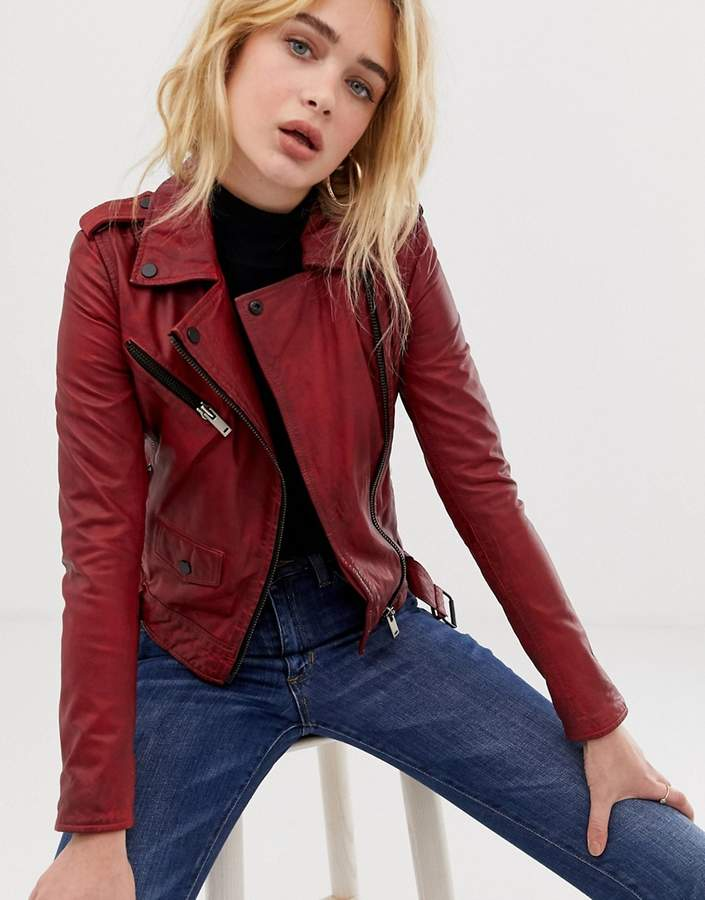Barneys Originals Barney's Originals coloured leather biker jacket