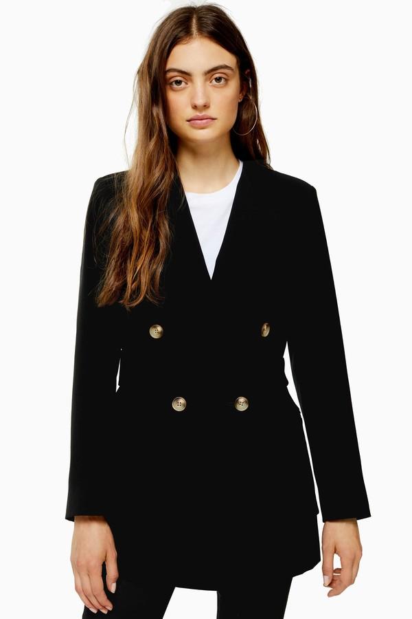 Womens Black Belted Twill Blazer - Black
