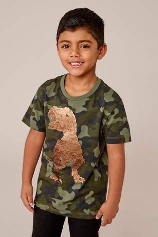 Boys Next Camouflage Sequin Dinosaur T-Shirt (3-14yrs)