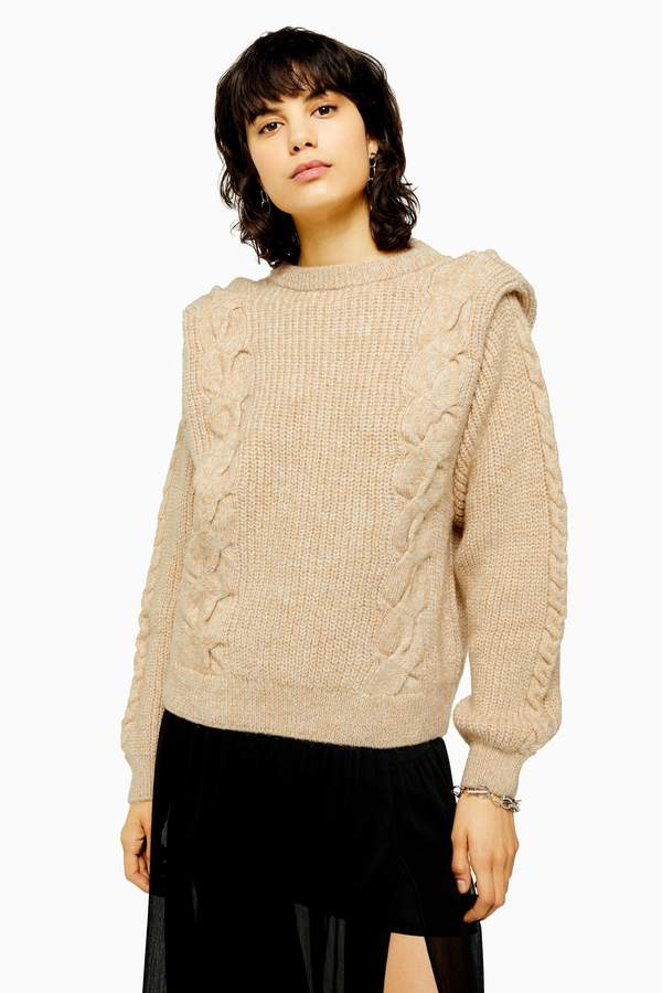 Womens Idol Bold Shoulder Cable Knit Jumper - Oatmeal