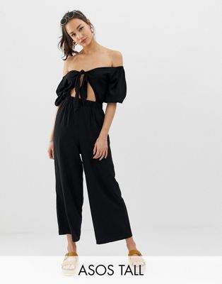 Asos Tall ASOS DESIGN Tall tea jumpsuit with puff sleeve and tie detail-Black