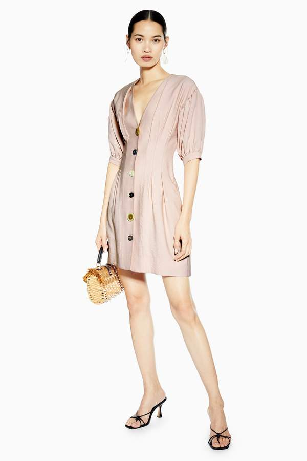 Topshop Womens Mixed Button Mini Dress - Blush