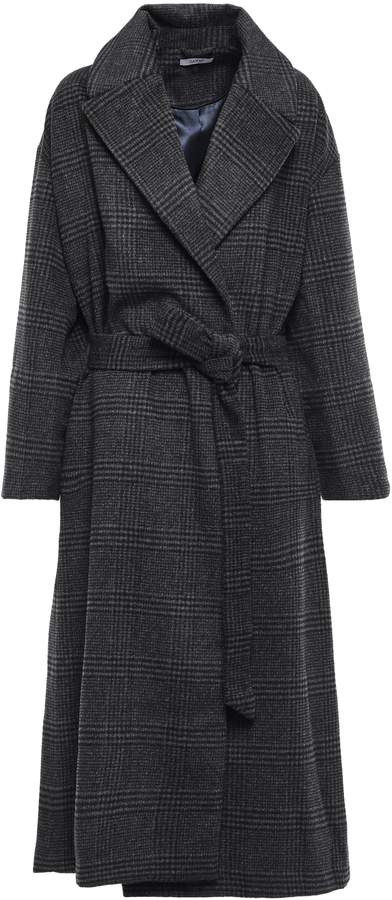 Ganni Woodside Prince Of Wales Checked Brushed Wool-blend Coat
