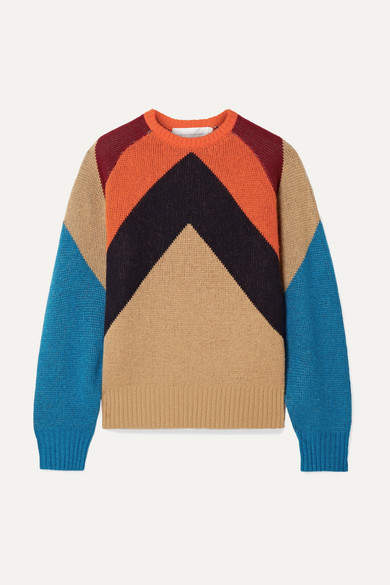 Victoria, Victoria Beckham - Intarsia Wool-blend Sweater - Camel
