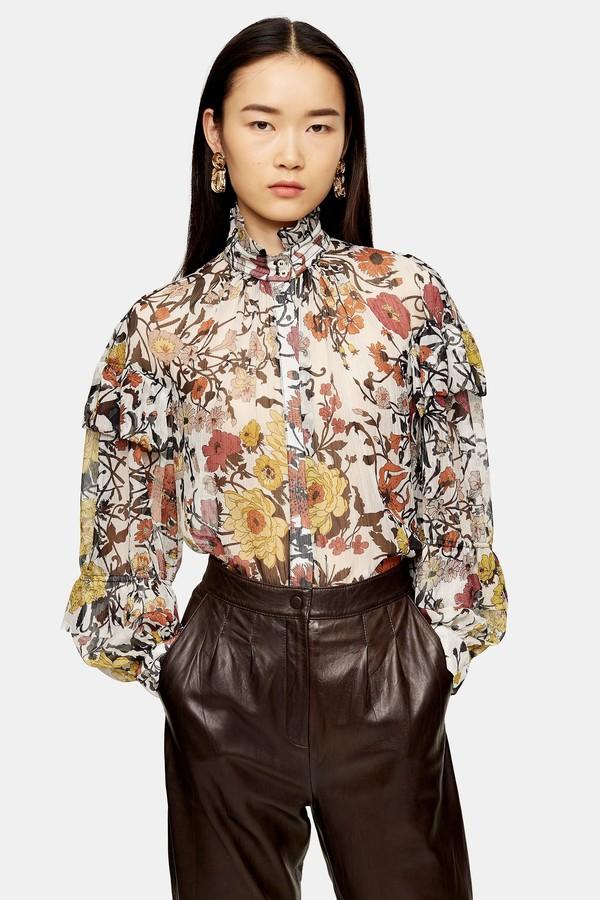 Topshop Womens Idol Double Ruffle Floral Print Blouse - Multi