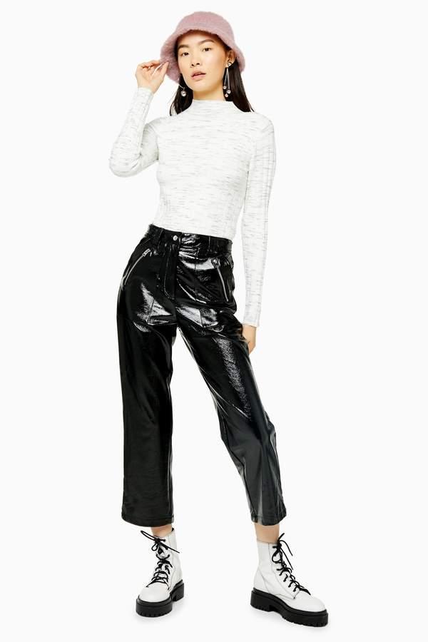 Topshop Womens Black Faux Leather Vinyl Straight Leg Trousers - Black