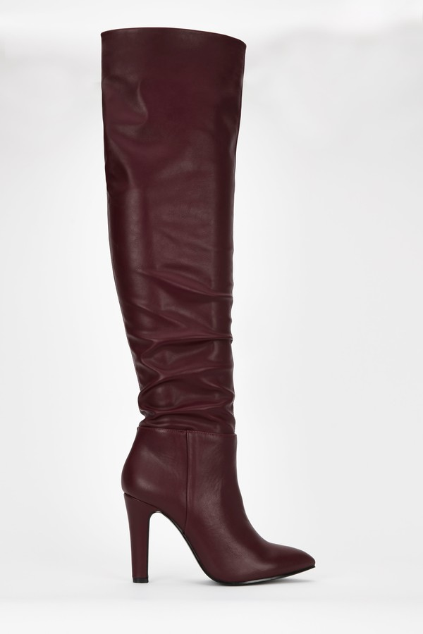 **Berry Ruched Over The Knee Boot