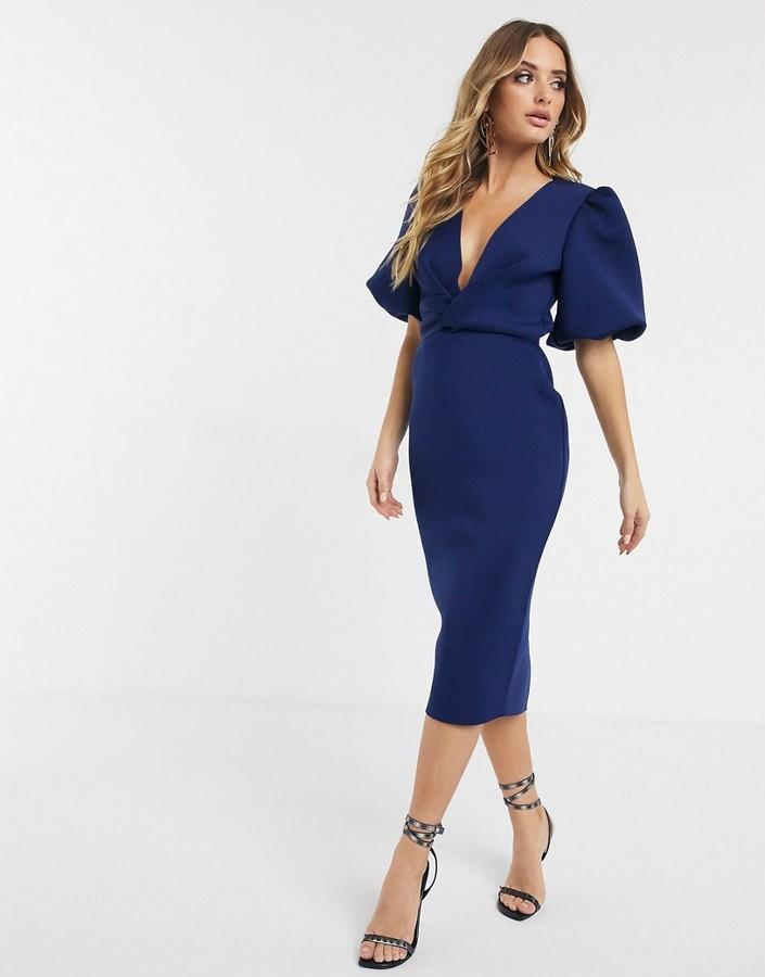 Asos Design ASOS DESIGN bubble sleeve twist detail midi pencil dress