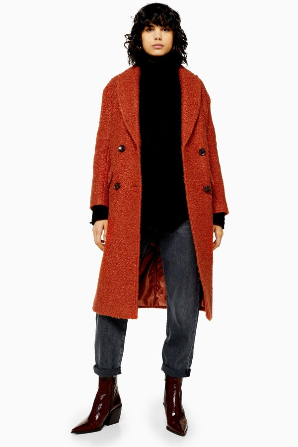 Womens Rust Boucle Double Breasted Coat - Rust