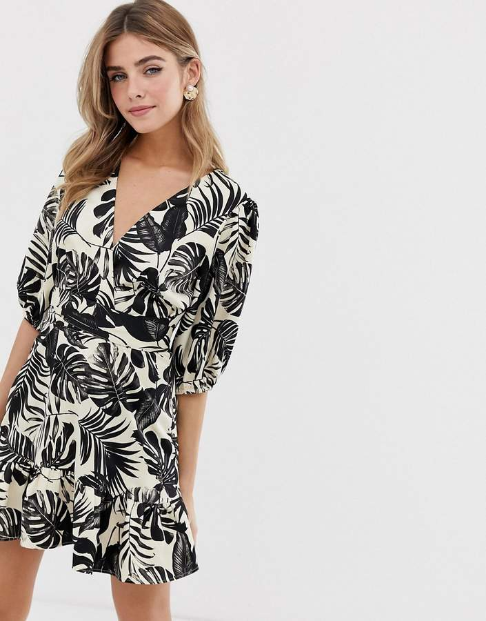 Asos Design ASOS DESIGN wrap mini dress in mono tropical print-Multi