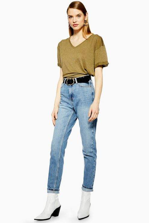 Topshop Womens Mid Blue Wash Mom Tapered Jeans - Mid Stone