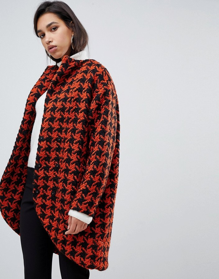 Y.A.S dogtooth oversized coat-Multi