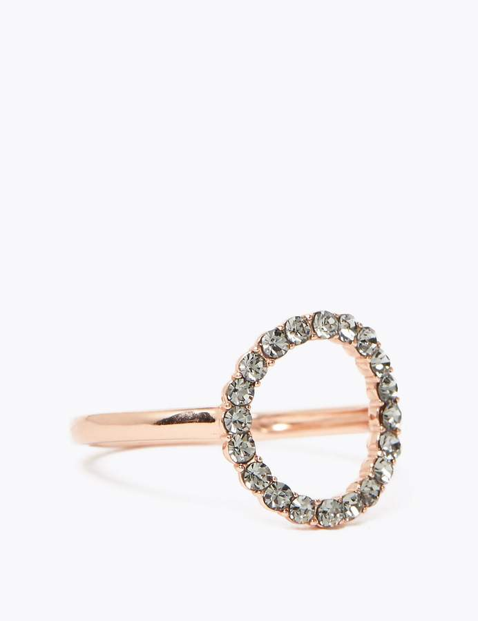 Sterling Silver Crystal Hoop Ring