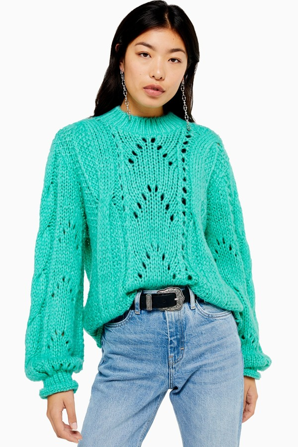 Topshop Womens Turquoise Knitted Lofty Jumper - Turquoise