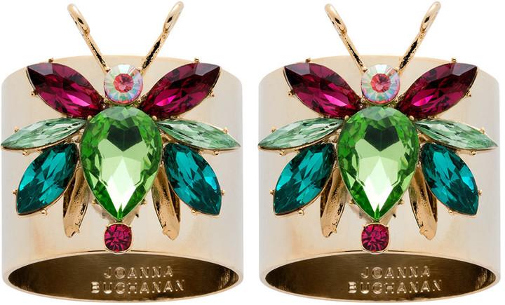 Joanna Buchanan - Rainbow Bug Peridot Napkin Rings - Set of 2