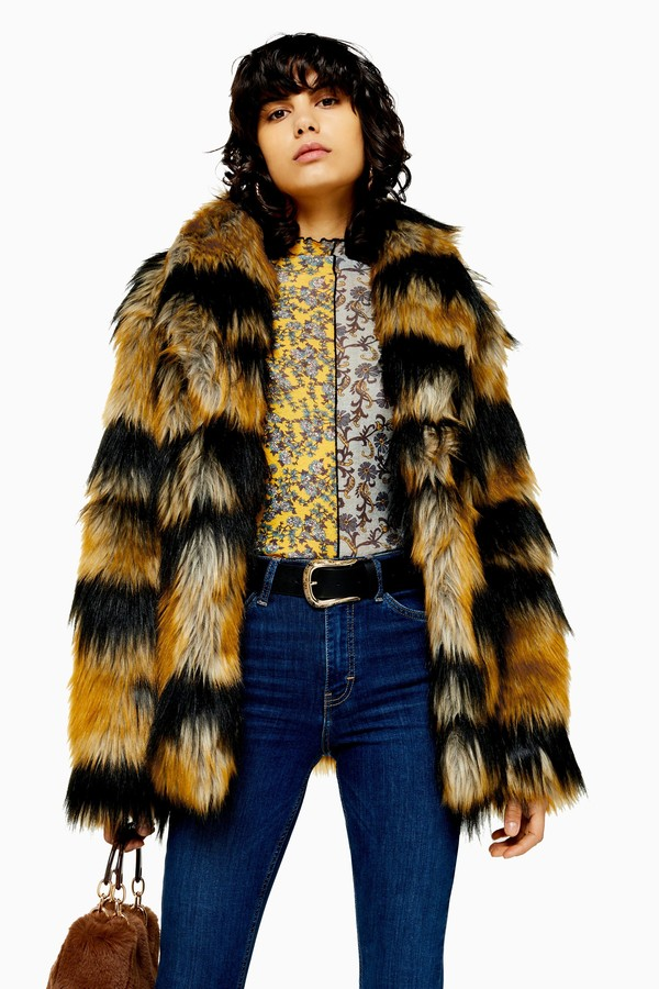 Womens Tiger Faux Fur Coat - Multi
