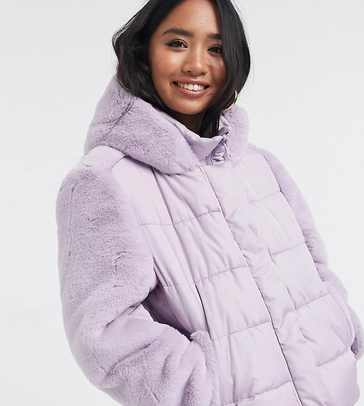 ASOS DESIGN Petite hybrid faux fur panelled puffer jacket in lilac