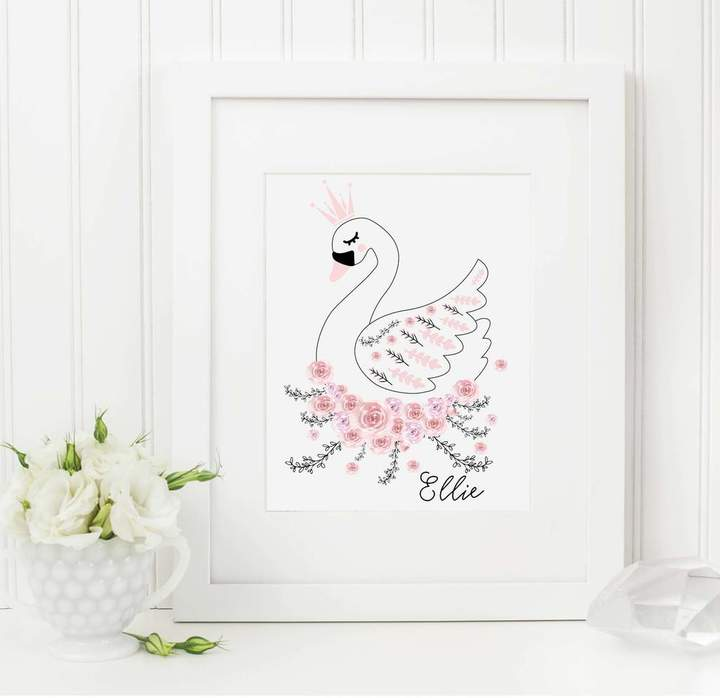Rock, Paper, Stars Scandi Swan Nursery Print