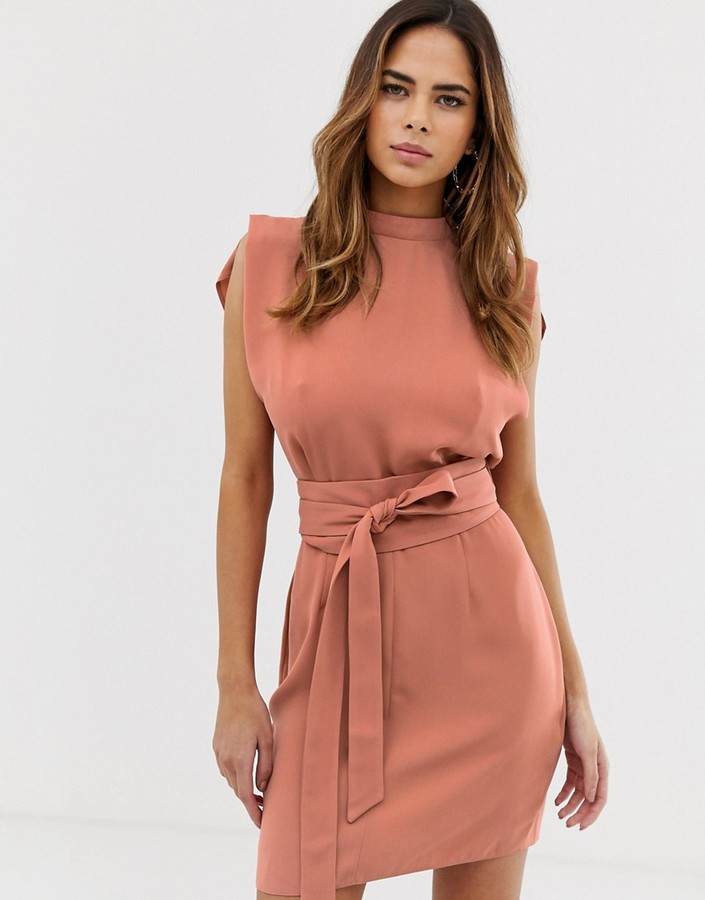 ASOS DESIGN split sleeve mini dress with obi belt