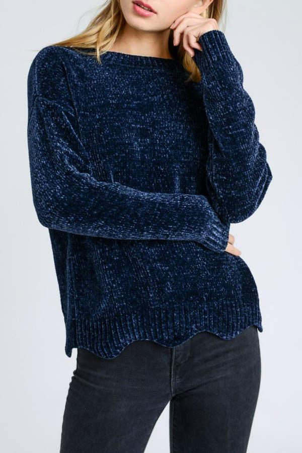 Love Tree Navy Chenille Sweater