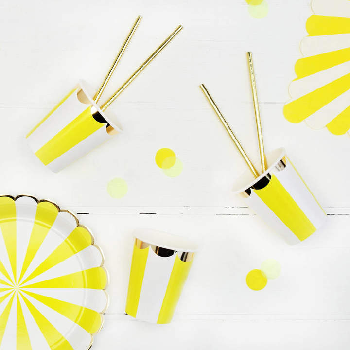 Postbox Party Striped Yellow Party Paper Cups
