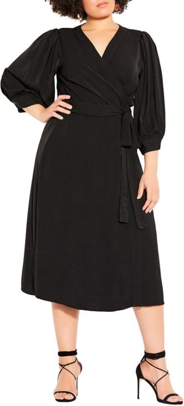 City Chic - black midi wrap dress   hot Fall 2020 fashion dress